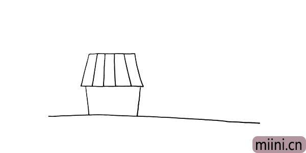 第四步:再用线条画出屋顶的纹理。