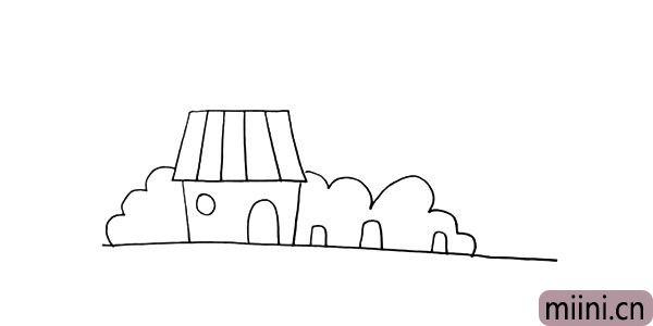 第七步:在房子的右边画几个类似长方形的形状表示植物的茎。