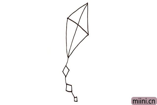 3.画出风筝长长的尾巴。