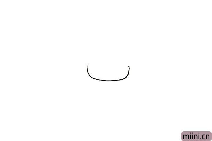 1.首先画出男孩的脸颊一条向上弯的弧线。