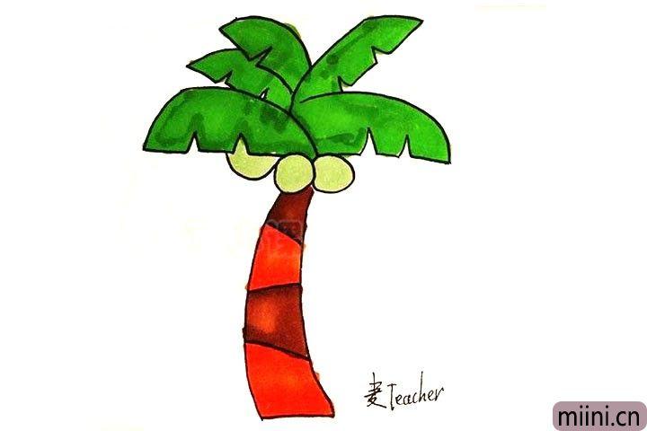 6.给椰子树涂上颜色。