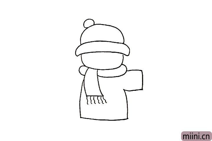 5.下面画出小男孩的大棉袄。