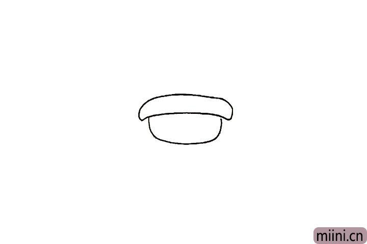 2.然后画出小男孩的帽檐部分。