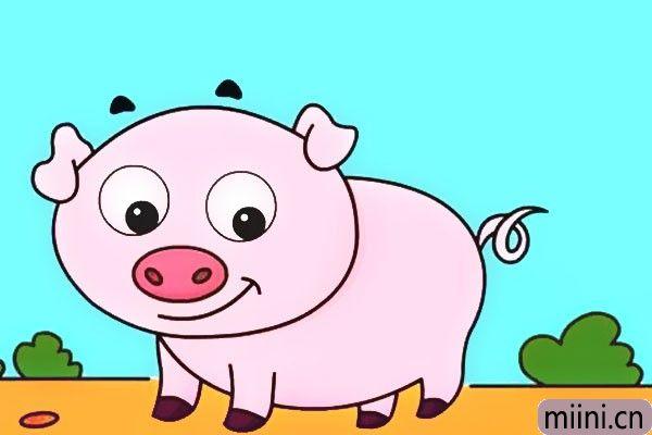粉色的小猪简笔画步骤教程