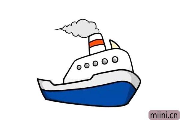 远洋千里的轮船简笔画步骤教程