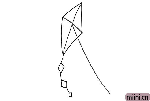 4.画一根弧线作为风筝线。