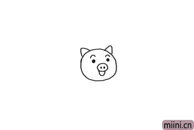 1.先画出小猪的头部。