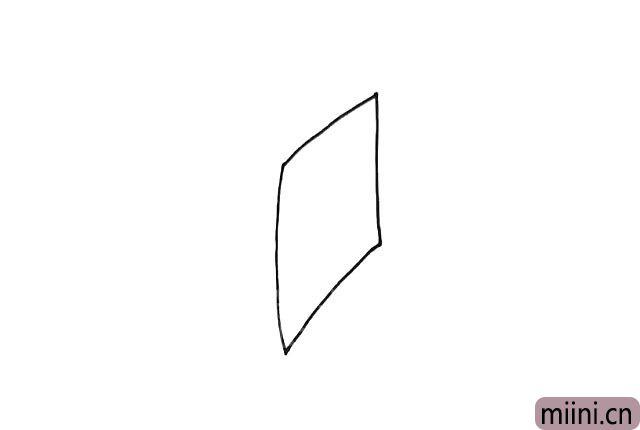 1.先画一个四边形,作为风筝的轮廓