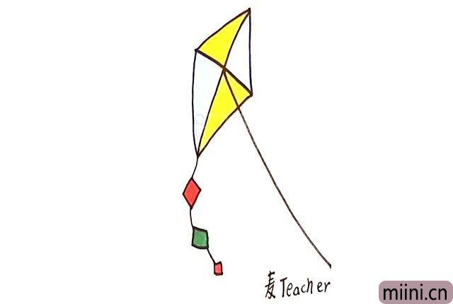 5.最后给风筝涂上自己喜欢的颜色。
