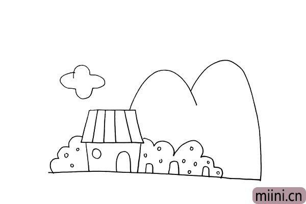 第十步:接着在屋顶的左上方画出一片朵云。