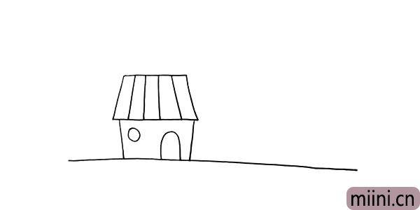 第五步:用小圆圈画出它的窗户.再勾勒出它的门。