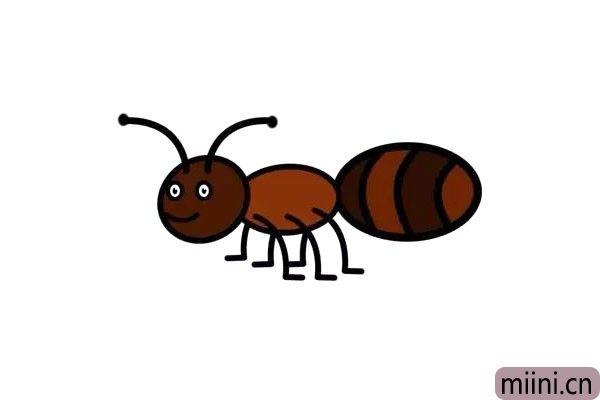 6.最后,为小蚂蚁涂上喜欢的颜色!