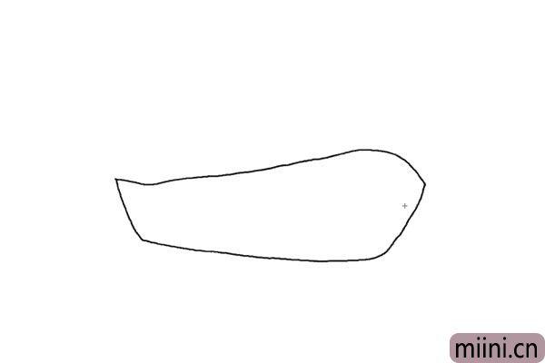 1.先画出轮船的外形轮廓,右边比左边稍微高一些。