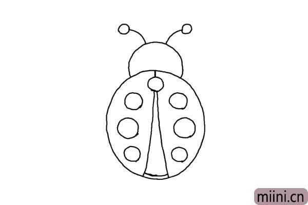 4.一条直线连接中间的圆,相交后向两边分成两条线,这是他的翅膀,修改一下它的尾部。