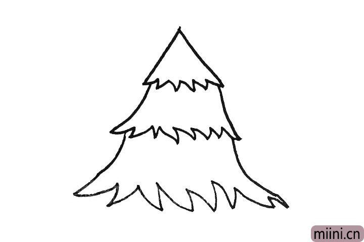 3.画出树叶下边的部分。