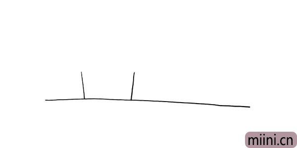 第二步:在画出二条稍微斜的竖线做为房子的墙壁.