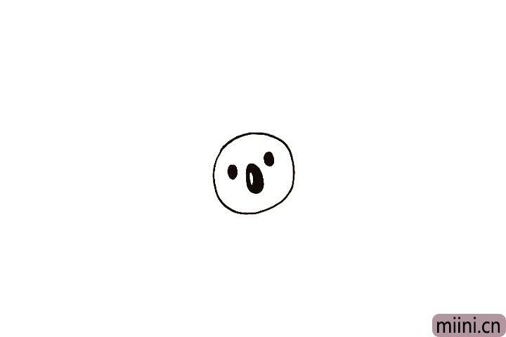 3.画出考拉大大的鼻子.留出高光。