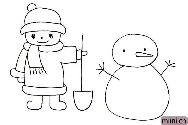 15.用树杈代替雪人两侧的手臂。