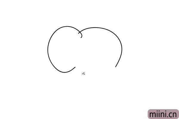 1.我们画上小象的头部轮廓 和左边的耳朵,象的耳朵特别大,像扇子一样。