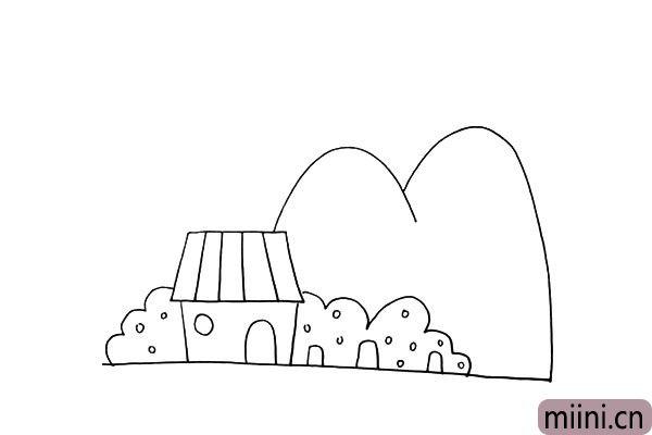 第九步:用二条向下的曲线画出远处的高山。