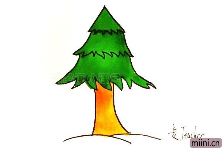 5.给松树涂上颜色。