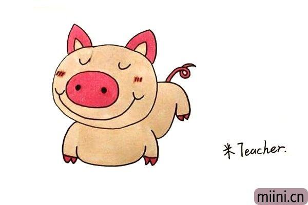 第十步:最后我们把画好的小猪涂上漂亮的颜色。
