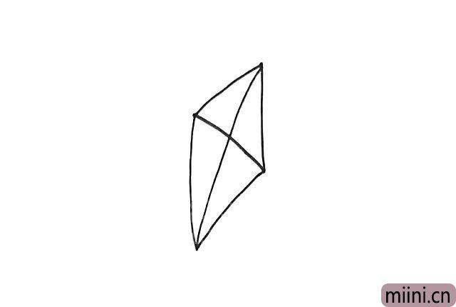 2.中间画十字形的分割线,作为风筝的骨架。