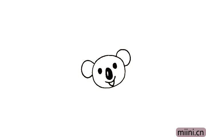 5.在头部两侧画出两只大大的耳朵。
