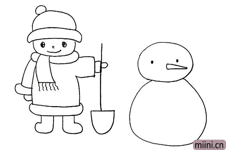 14.还有雪人长长的鼻子和眼睛。