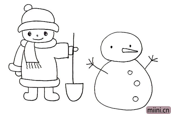 16.在雪人的身体上画出几个圆圆的纽扣。
