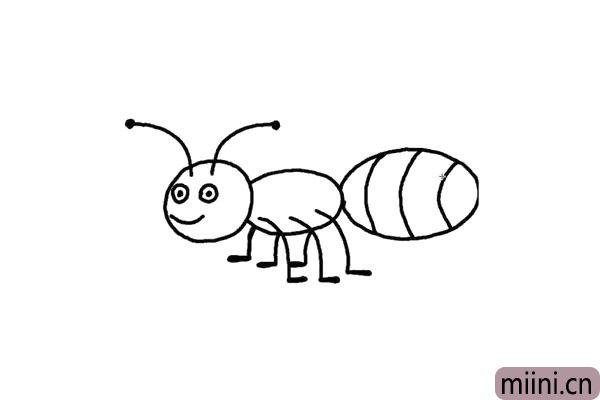 5.蚂蚁行走全靠它的腿,我们画的长一点,像一个倒着的数学7。