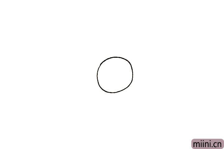 1.首先画出一个圆形的头部。