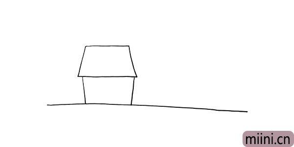 第三步:接着用梯形画出屋顶.注意两边留出部分要均匀。