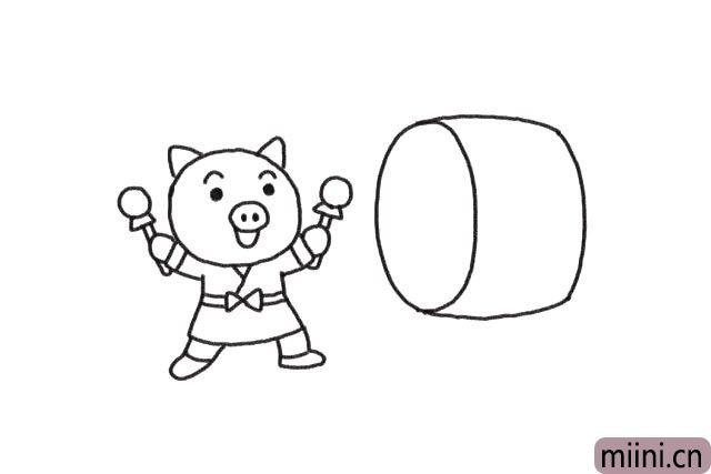 4.在小猪的前面画上一个大鼓。