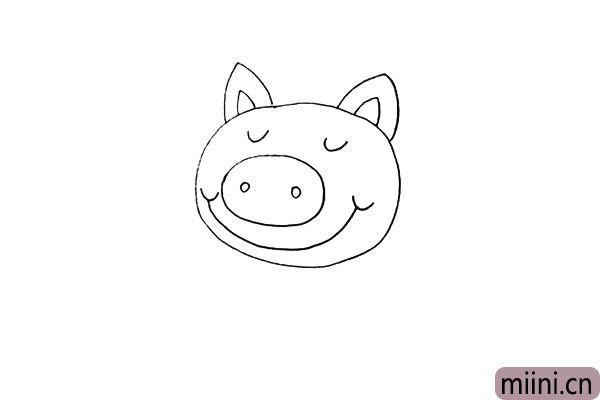 第五步:鼻子下面画出它微笑的嘴巴.是向上扬起的。