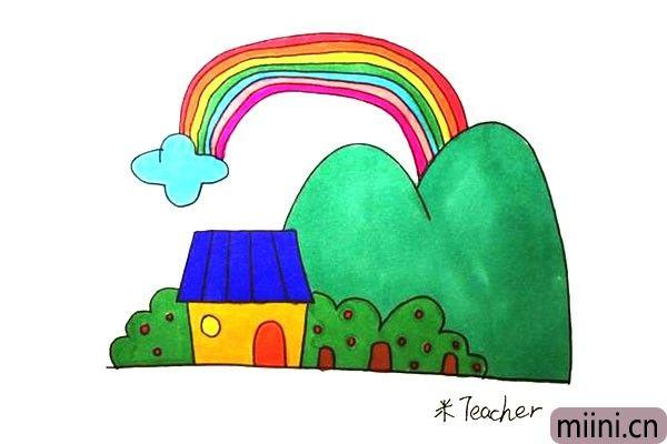 第十二步:最后我们把画好的彩虹屋涂上漂亮的颜色吧。
