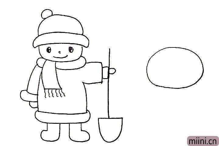 12.然后在右侧画出雪人圆圆的头部。