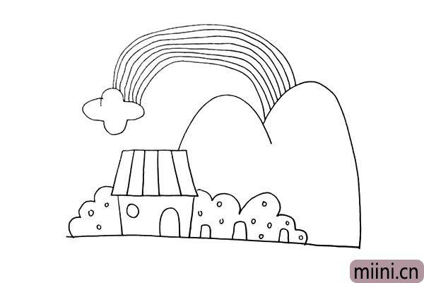 第十一步:在云朵和大山的上方画出一条弯曲的彩虹。