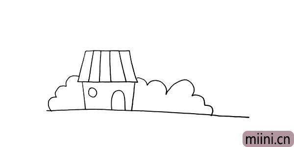 第六步:接着用波浪线画出房子旁边的植物。
