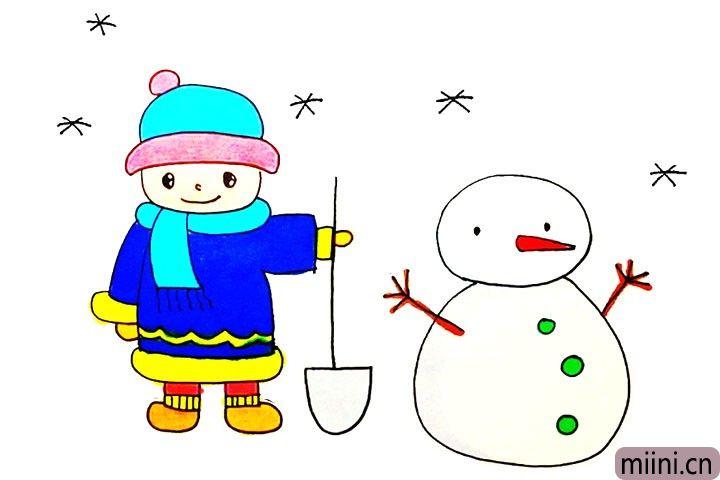 堆雪人的小男孩简笔画步骤教程