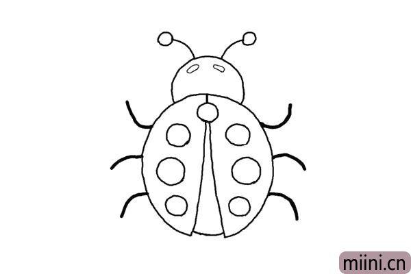 5.画上它小椭圆的两个眼睛。最后画出它的腿,先画右边的腿。