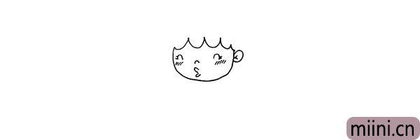 第四步:在画出她的鼻子和嘴巴.还有可爱的脸颊。