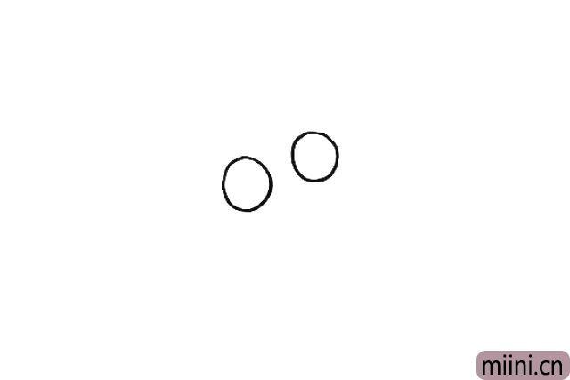 1.首先我们先画出蜗牛的眼睛.两只圆圆的眼睛是倾斜的。