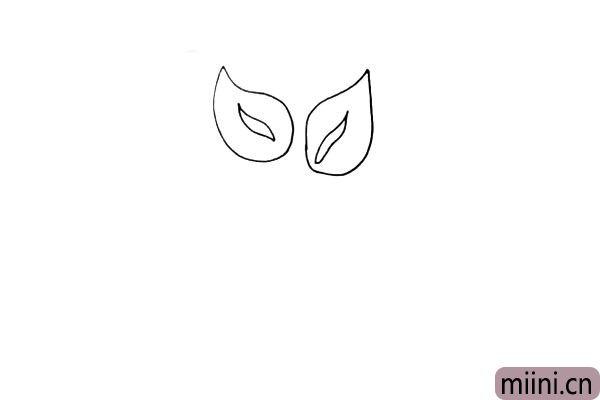 第三步:用同样的画法我们画出另一边的花朵。