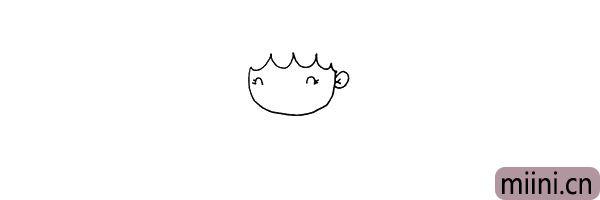 第三步:用二条向下的曲线画出她的眼睛.眼睛侧边还有二条睫毛。
