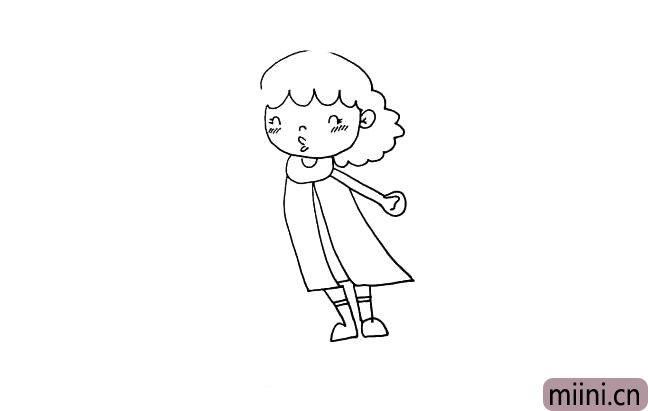 第十步:现在画出她的腿和脚.腿上画二条小横线是袜子的边缘。