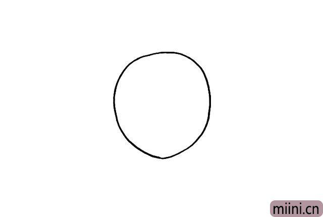 1.首先我们画出七星瓢虫的身体.它的身体是圆圆的。