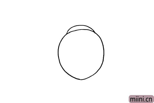 2.在身体的上方画出它的头部.一个小的圆弧。