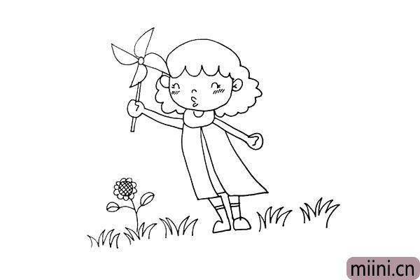 第十五步:左侧中间小草上面长着一颗美丽的小花。