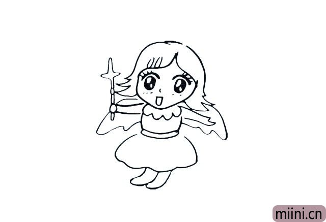 11.在画出她的翅膀.仔细观察位置.不要画的太大。
